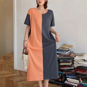 Round Neck Maxi Length Contrast Loose Dress