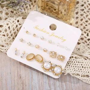 Pearl Decor Six Pairs Women Fashion Ear Jewellery Set