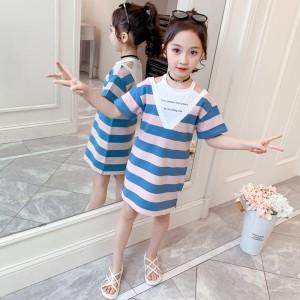 Edition V Neck Striped Print Kids Dress - Blue Pink