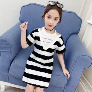 Edition V Neck Striped Print Kids Dress - Black White