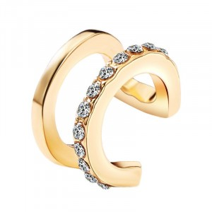 Crystals Patched Women Fashion Rings - Golden