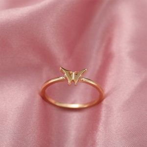 Gold Plated Butterfly Carved Fashion Ring - Golden