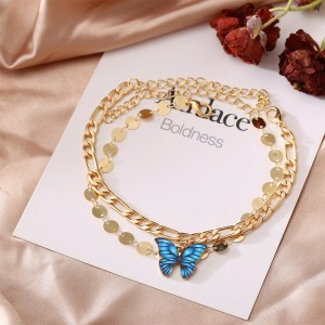 Gold Plated Multi Layered Butterfly Pendant Bracelets - Golden