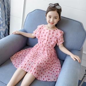Chiffon Strawberry Printed Pleated Kids Dress - Pink
