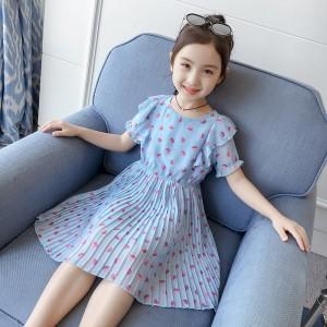 Chiffon Strawberry Printed Pleated Kids Dress - Blue