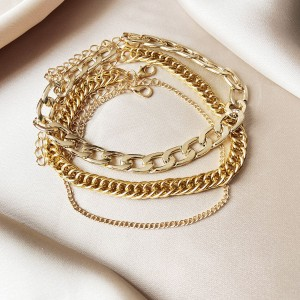 Braid Gold Plated Multi Layered Hook Closure Bracelet