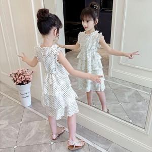 Kids Wear Polka Dot Print Cake Dress - White