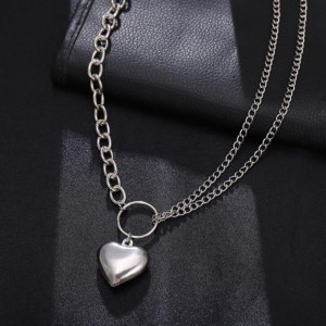 Heart Pendant Multi Layered Women Fashion Necklace