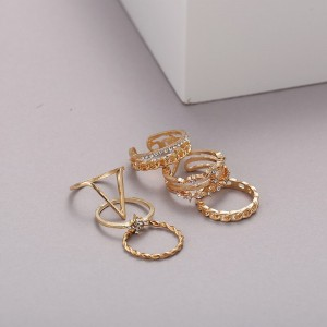 Gold Plated Six Pieces Rings Set - Golden