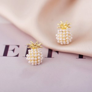 Pearl Patched Women Fashion Patched Ear Tops - Golden