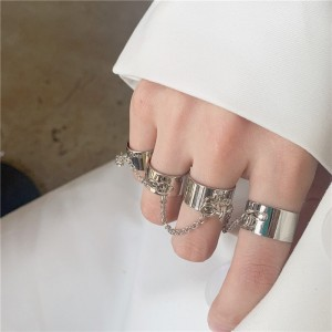 Silver Plated Four Pieces Rings Set - Silver