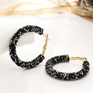 Glitter Hooked Closure Women Fashion Earrings Pair - Black