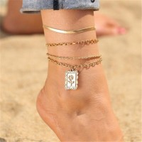 Multilayered Gold Plated Beach Wear Anklet