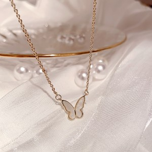 Gold Plated Butterfly Pendant Necklace