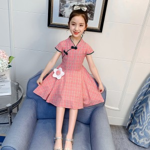 Plaid Princess Cheongsam Kids Dress - Pink