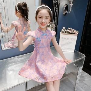 Elegant Cheongsam Lace Kids Dress - Pink