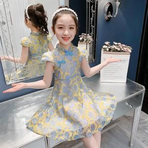 Elegant Cheongsam Lace Kids Dress - Yellow