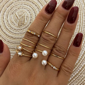 Gold Plated Six Pieces Pearl Patched Rings Set - Golden