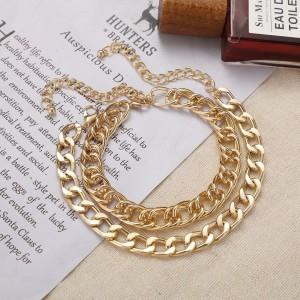 Gold Plated Hooked Boho Anklet - Golden