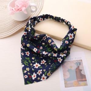 Floral Print Elastic Flexible Hair Bands - Dark Blue