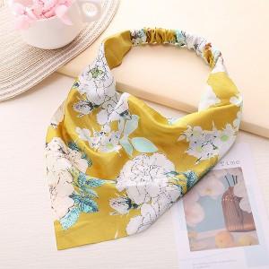 Floral Print Elastic Flexible Hair Bands - Yellow