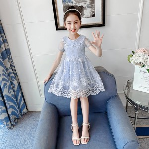 Heavy Craft Embroidered Lace Kids Dress - Sky Blue