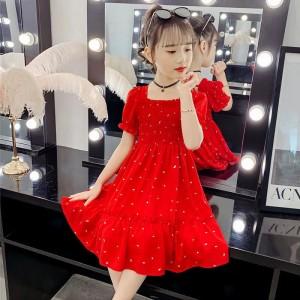 Fashion Chiffon Polka Dot Kids Skirt Dress - Red