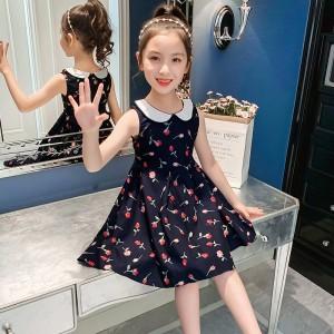 Doll Collar Sleeveless Rose Print Dress - Dark Blue
