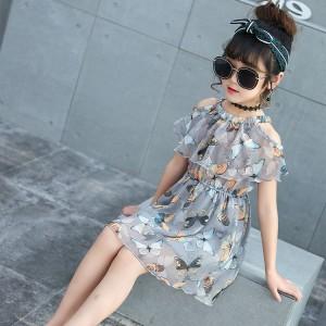 Butterfly Print Chiffon Strapless Kids Dress - Gray