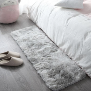 Furry Solid Color Solid Color Bedroom Mat - Gray