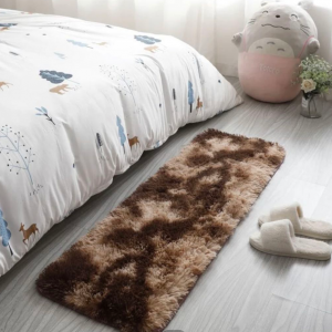 Furry Solid Color Solid Color Bedroom Mat - Coffee