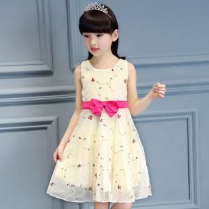Embroidered Mesh Princess Skirt Kids Dress - Yellow