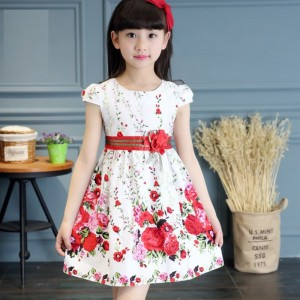 Short Sleeve Floral Printed Round Neck Kids Dress - White Red