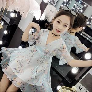 V Neck Floral Printed Drawstring Kids Dress - Sky Blue