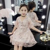 V Neck Floral Printed Drawstring Kids Dress - Light Pink