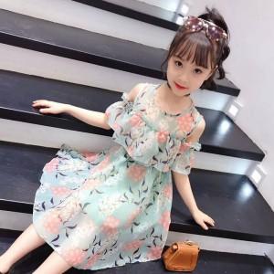 High Quality Floral Printed Kids Dress - Green