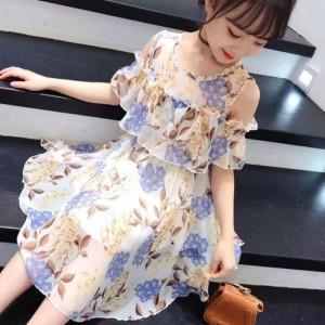 High Quality Floral Printed Kids Dress - Purple