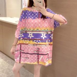 Short Sleeves O Neck Graphic Print Loose Wear Women Top - Purple Multicolor