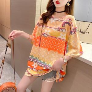 Short Sleeves O Neck Graphic Print Loose Wear Women Top - Orange