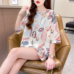 Short Sleeves O Neck Graphic Print Loose Wear Women Top - White
