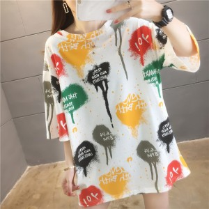 Alphabetic O Neck Graphic Print Short Sleeve Loose Wear Women Top - White