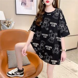 Graphic Print Short Sleeve O Neck Loose Wear Women Top - Black
