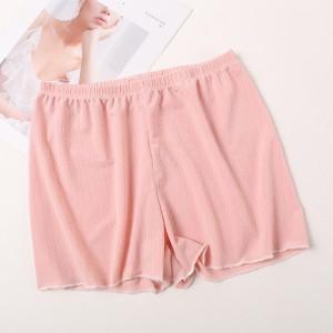 Solid Color Elastic Waist Mini Shorts Underwear - Pink
