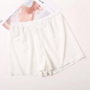 Solid Color Elastic Waist Mini Shorts Underwear - White