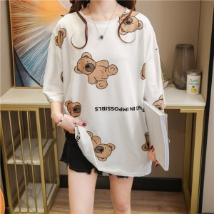 Graphic Print Short Sleeve O Neck Loose Wear Women Top - White