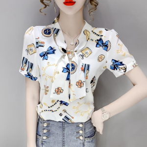 Graphic Printed Knotted Short Sleeves Blouse Top - White