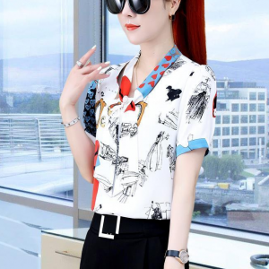 Floral Print Formal Wear Blouse Top - White