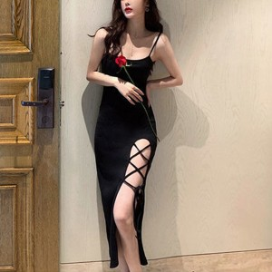 Spaghetti Strap Party Wear Split Hem Maxi Dress