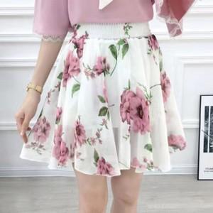 Chiffon Floral High Waist Summer Wear Mini Skirt - White