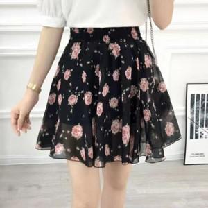 Chiffon Floral High Waist Summer Wear Mini Skirt - Black